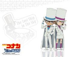 Detective Conan Haibara and Edogawa Conan Kaito Kid Suit Wallpaper