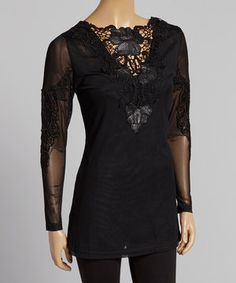 This Pretty Angel Black Crochet Silk-Blend Long-Sleeve Tunic by Pretty Angel is perfect! #zulilyfinds