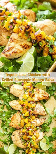Tequila Lime Chicken with Grilled Pineapple Mango Salsa | Grilled chicken full of citrus flavor and one of the most flavorful salsas youve ever had are perfect for an easy weeknight dinner!
