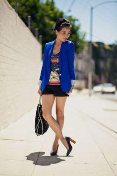 Graphic tee, Cobalt Blazer, Black shorts