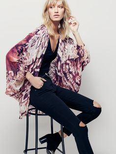 Gemini Drippy Kimono | In a soft and lightweight fabrication, this…