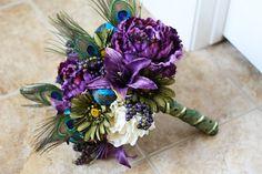 Custom Listing for Benita - Purple Peacock Bridal and Bridesmaid Bouquets