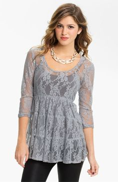 Love Squared Tiered Lace Babydoll Top available at #Nordstrom