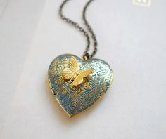 Heart Locket Necklace. Butterfly Locket Necklace Slate by LeChaim