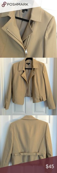Ann Taylor Gold Zippered Jacket Ann Taylor dressy jacket (or dress it down). Gorgeous gold hardware pops! Perfect condition. NWT.  Size 6. Ann Taylor Jackets & Coats