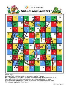 Printable Snakes and Ladders Game - Class Playground Snakes And Ladders Template, Snakes And Ladders Printable, Printable Games For Kids, Printable Board Games, Train Template, Bird Paper Craft, Snake Game, Short Stories For Kids, Classic Board Games
