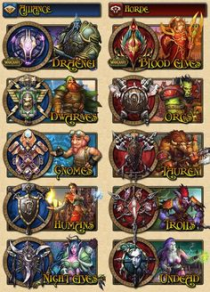 "World of warcraft races. Use best code ""game9"" to buy cheap wow gold on safewow.com. #legion #warcraft"