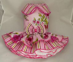 Small dog harness dress. Tutu 5 layer skirt. Floral. by poshdog, $58.00
