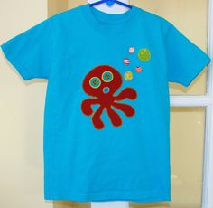 Set of 4 Appliqued Octopus Tshirts  Short  Sleeved by WetBagIt, $67.96