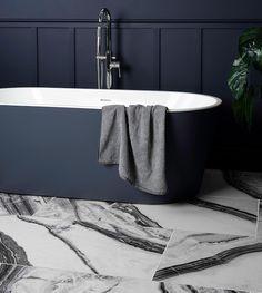 Grey Bath, black and white tiles from walls and floors, affiliate partner Flat Marbles, Grey Baths, Mid Century Modern Bathroom, Basin Vanity Unit, Bath Panel, Affiliate Partner, Wall Hung Toilet, Retro Bathrooms, Black And White Marble