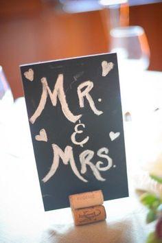 Mr. & Mrs. chalkboard sweetheart as table decor. Photograph By Molly Anne Photography Wedding Planning & Design by Elegant Aura, elegantaura.com/sub. elegantaura.com/sub