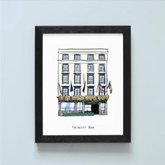 Illustrated pubs of Temple Bar – Cowfield Design Trinity Bar, Dublin Pubs, Irish Bar, Temple Bar, Bar Areas, Drawings, Frame, Illustration, Gifts