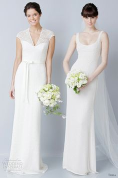 Theia Wedding Dresses Spring 2013, wow I love the one on the left, with lace sleeving.. delicious and modest... oooh
