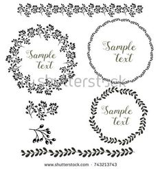 Black and white vector floral wreath collection. Brush elements included. Bright colors. Suitable for greeting cards, wedding invitations, websites.