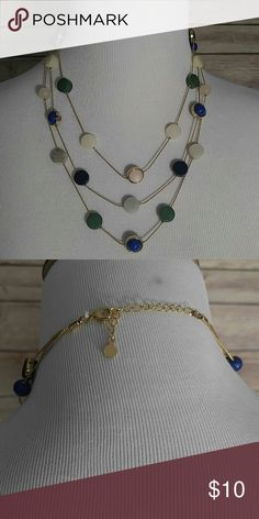 NWOT Gold multi-strand necklace Green, blue, pink, gray, cream colored stones on 3 strands. Never worn. Ann Taylor Jewelry Necklaces