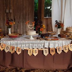 The dessert table at the reception is decorated with a DIY banner and lace tablecloth. The autumn treats were all made by family and friends in order to cut costs in a delicious way! - Image Credit: Jean Moree Photography