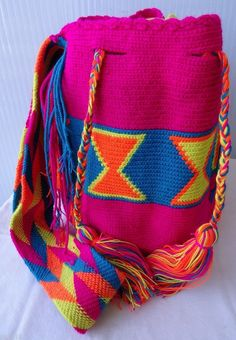 f05f84b98da Authentic Wayuu Bag Mochila Hand Woven Multicolor . Cotton #Handmade  #ShoulderBag