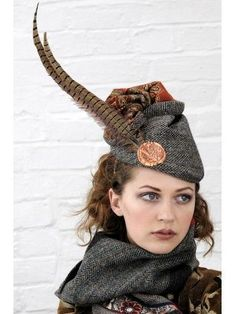 Harris Tweed and paisley feather hat band hansel and gretel or woodland hunter goddess style lagenlook autumn fashion style hat and scarf combo for savvy grimm and fairy girls Scottish Hat, Tartan, Tweed Ride, Feather Hat, Fancy Hats, Love Hat, Dress Hats, Harris Tweed, Headgear