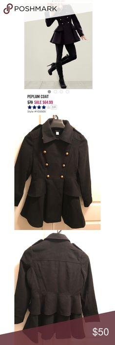 Black peplum coat Never been worn, super cute, dress Peplum, Black pea coat. Size small. I am a petite and this coat is slightly too big for me. Ordered from Venus. venus Jackets & Coats Pea Coats