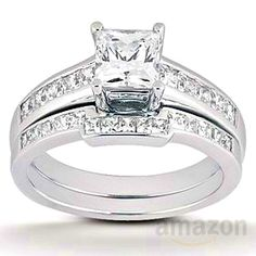 1.10CT Princess Cut Channel Set Diamond Wedding Engagement Ring 14K Whi...