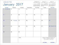 A simple to use free calendar template for Excel. Each month is on a ...