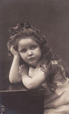 Sweet Edwardian Girl with Leaf Berry Garland in Hair Original Vintage PC   eBay