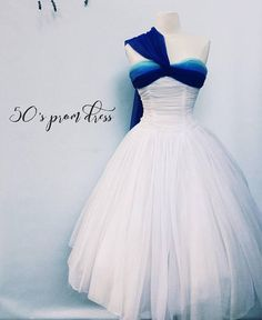 Bombshell white and blue strapless prom / party - full skirt chiffon cocktail dress- small Dusty Pink Bridesmaid Dresses, Grad Dresses, Prom Party Dresses, Blue Dresses, Vintage Outfits, Vintage Dresses, Vintage Fashion, Women's Fashion, Pretty Outfits