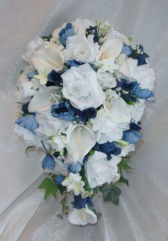 Marine Navy Blue White CASCADE Bridal BOUQUET Silk Wedding Flowers Delphinium #Blue #Wedding #FlowersBouquets