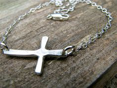 Sterling Silver Rugged Cross Necklace by justbujewelry on Etsy, $35.00