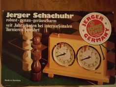 VTG Wooden Jerger Schachuhr Chess Clock made in Germany in BOX #JergerSchachuhr