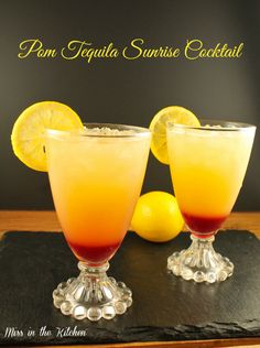 Pom Tequila Sunrise Cocktail from Missinthekitchen.com  Pom Tequila Sunrise Cocktails