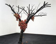 Anya Gallaccio - because nothing has changed, 2001 cast bronze, 250 live apples, twine Dimensions approximately: 110.24 x 78.74 x 59.06 inches 280 x 200 x 150 cm LM1592