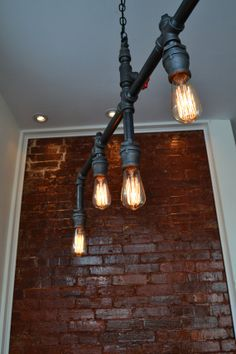 Hanging 5 Pendant Industrial Pipe Light SWAG VERSION [ Edison Bulbs Included ]