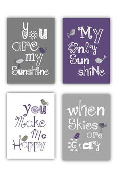 "Purple Nursery Art Prints, You are my sunshine printsmatch Pottry Barn Dahlia, 4-8x10"" prints, nursery, or playroom, or a on Etsy, $55.00"