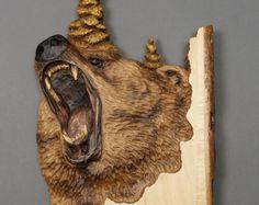 Wolf geformt auf Holz Holz mit Rinde in Relief Geschenk von