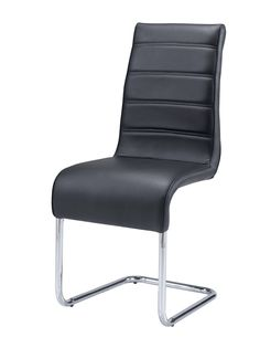 "Global D1087DC Side Chair - Black chair with metal frame and PU leather upholstery. Dimensions: L17"" x D21"" x H39""."