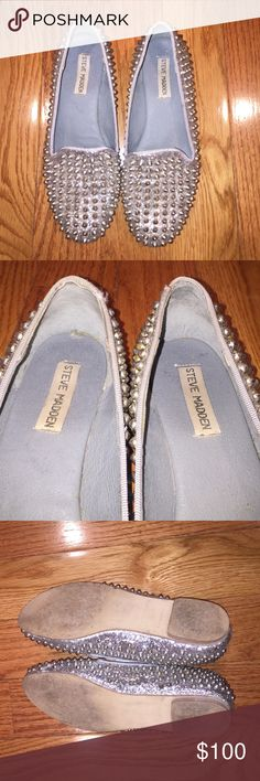 Steve Madden studded flats Silver studded flats. Worn a few times but perfect condition. No box included Steve Madden Shoes Flats & Loafers