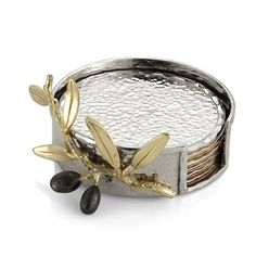 Michael Aram Olive Branch Gold Drink Coaster Set for sale online Gold Coasters, Drink Coasters, Gold Drinks, Black Orchid, Coaster Furniture, Funky Furniture, Coaster Set, Bronze, Pure Products