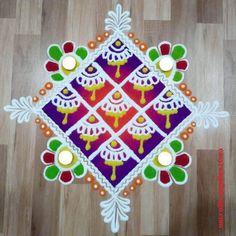 50 Kamada Ekadashi Rangoli Design (ideas) that you can make yourself or get it made during any occasion on the living room or courtyard floors. Rangoli Designs Latest, Rangoli Ideas, Rangoli Designs Diwali, Simple Rangoli, Small Rangoli Design, Colorful Rangoli Designs, Beautiful Rangoli Designs, Diwali Diy, Diwali Craft