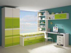 Habitación juvenil en verdes