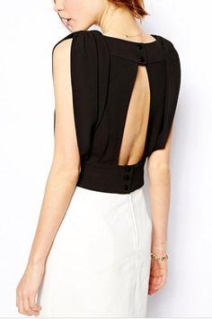 Black V Neck Cutout Back Stylish Blouse @ Womens Shirts & Blouses,Women Shirts,Cheap Button Down Shirts,Long Sleeve Shirts,Blouses,Peasant Blouse,Cheap Blouse,Sheer Shirts,Womens Denim Shirts,Fashion Blouse,Sexy Shirt,Collar Shirt,V Neck Blouse,Polo Shirt,Floral Print Shirt,White Blouse