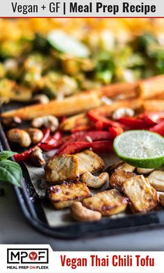 Thai Chili Tofu Sheet Pan Meal Prep - This vegan sheet pan dinner packs tons of flavor and conveniently cooks together . Vegetarian Meal Prep, Lunch Meal Prep, Meal Prep Bowls, Easy Meal Prep, Easy Meals, Dinner Meal, Quick Dinner Recipes, Whole 30 Recipes, Lunch Recipes