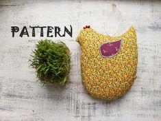 Stuffed hen PATTERN toy soft bird DIY chicken pattern 7x9 inches Easter decoration kitchen decor