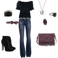 """black and plum"" by amanda-delyser on Polyvore"