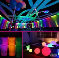 Again at the urging of many readers, some tips for party and neon ballad. 80s Party, Glow Party, Disco Party, Party Time, Neon Birthday, 13th Birthday Parties, 16th Birthday, Neon Sweet 16, Blacklight Party