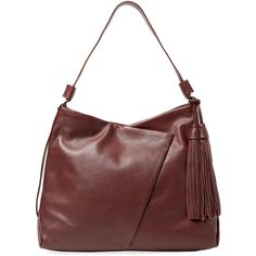 Kooba Kooba Women's Seneca Large Grained Leather Hobo - Brown (330 CAD) ❤ liked on Polyvore featuring bags, handbags, shoulder bags, brown, brown purse, red purse, red hobo purse, kooba handbags and red handbags