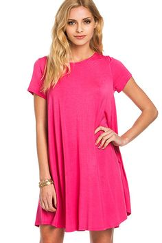 """Every girl loves those throw-on-and-go pieces. easy, versatile and super effortless, you'll be the queen of casual. this t-shirt dress, featuring short sleeves and pocketsis perfect for those laid back kinda days.   approx. length 82cm/32"""" measured from small  96%BAMBOO VISCOSE, 4%SPANDEX"""