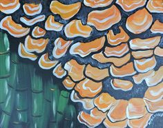 #Forest #Fungus. #Mushrooms growing in the #bamboo #forest at #Waimoku Falls, #Hawaii. #Acrylic on stretched #canvas. #Painting #Art #Artwork
