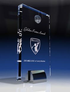Golf Tower - Sports Crystal Awards by Eclipse Awards. The Golf Tower features a crystal golf ball attached to a slab of optic crystal supported by a chrome base. Sure to leave a lasting impression for your recipients. Trophy Plaques, Golf Trophies, Crystal Awards, Custom Awards, Fundraising Events, Golf Ball, Corporate Gifts, Communication, Chrome