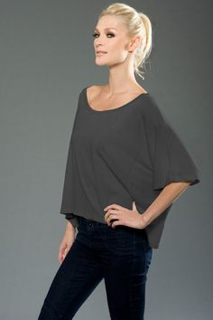 BP - 4SMMJ215 - Side - Slate -- eco-HYBRID™ Micro Jersey Wide Tee. Made in our lush Eco-Hybrid™ Micro Jersey, this wide tee has a flattering drape. Made in USA.• Sizes: S-XL, 3.7 oz., Eco-Hybrid™  Micro Jersey • Garment dyed and washed, preshrunk, heavenly soft, feather-light feel and fantastic drape. • 1x1 rib set-in collar.